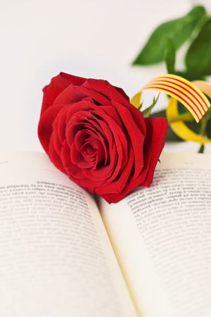 closeup of a book and a red rose with a Catalan flag for Sant Jordi, the Catalan name for Saint George Day, when it is tradition to give red roses and books in Catalonia, Spain Stock Photo