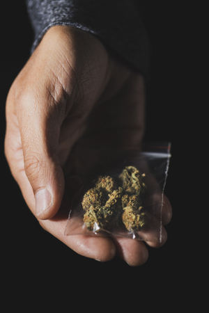 closeup of a young caucasian man with a plastic bag with some marihuana buds in his hand, against a black background Banque d'images