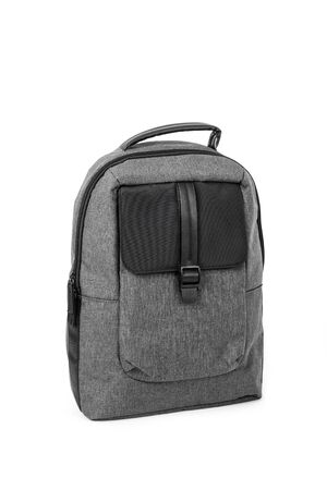 closeup of an elegant gray and black backpack in a white background