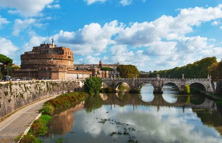 ROME, ITALY - OCTOBER 16, 2019: A view of the Tiber River and Castel Sant Angelo or Mausoleum of Hadrian, in Rome, Italy, on the left