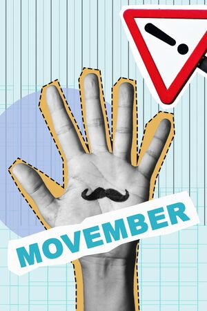 text movember, as a paper cutout, the palm of a man in black and white with a mustache painted in it, and a traffic sign with an exclamation point, as a contemporary art collage Reklamní fotografie
