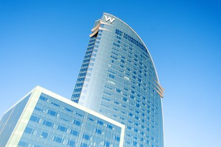 BARCELONA, SPAIN - JANUARY 18, 2020: A view of the W Barcelona Hotel, in Barcelona, Spain, popularly known by locals as Hotel Vela, Sail Hotel in Catalan and Spanish, because of its sail shape