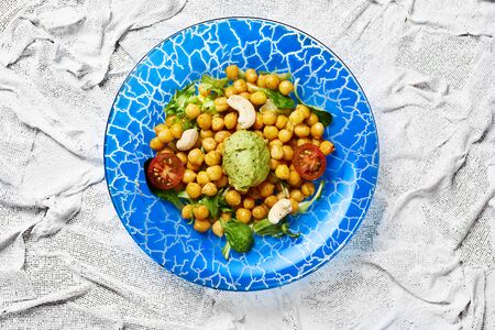 View of a vegetarian chickpea salad