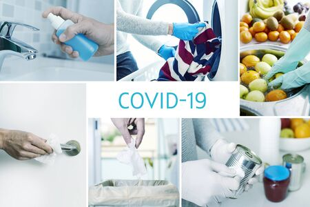 a collage of different pictures of some actions at home to prevent the infection of covid-19, such as disinfect the doorknobs, the cans and jars of food freshly purchased, or fruit and vegetables Stockfoto