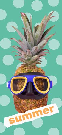 text summer, as magazine cutout, and a pineapple wearing a diving mask, on a green background patterned with pale green dots, in a vertical format to use for mobile stories or as smartphone wallpaper