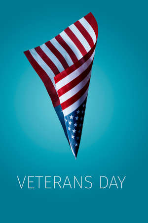 the text veterans day and a flag of the United States flying against a blue background