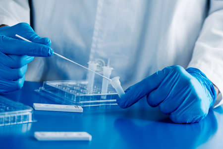 closeup of a healthcare worker, wearing blue surgical gloves, put the sample of a nasopharyngeal swab in contact with the reactant, before to insert it into the covid-19 antigen diagnostic test device Stock Photo - 162939263