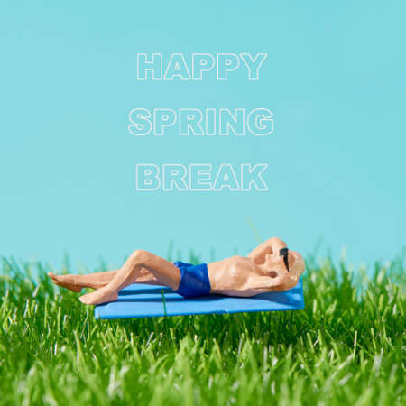Closeup of a miniature man, wearing swimsuit and sunglasses, lying down on a blue towel on the grass