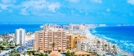 a view over La Manga del Mar Menor, in Murcia, Spain, with the Mar Menor lagoon on the left and the Mediterranean sea on the right, in a panoramic format to use as web banner or header Banque d'images