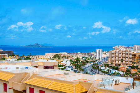 a view over La Manga del Mar Menor, in Murcia, Spain, with the Mar Menor lagoon and the Isla del Baron island on the left Banque d'images