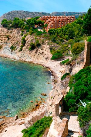 a view of Cala La Manzanera beach in Calpe, in the Valencian Community, Spain