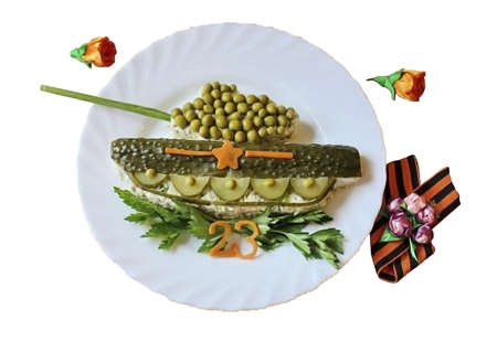 """Tank salad is ready by February 23rd. Serve to the table. Tank salad is actually very simple to prepare. A little imagination, a minimum of the simplest products and you will get a """"real tank"""". You ca"""