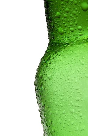 whote: Bottle of beer with water-drop on whote background Stock Photo