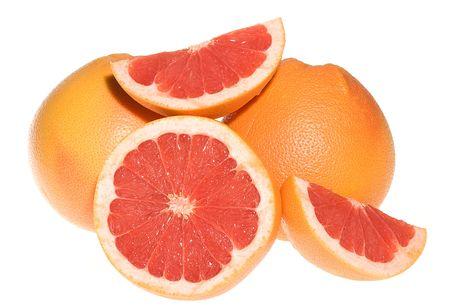 breackfast: Fresh grapefruits on white background