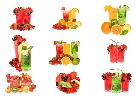 collection cocktails with fruits and berries on white background photo