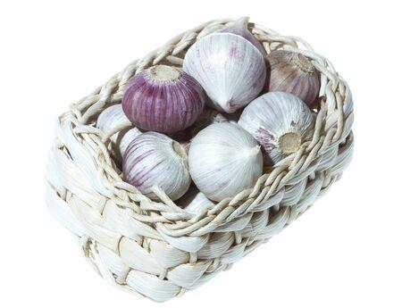 garlics: Fresh garlics isolated on white background