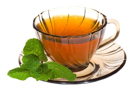 Cup of tea with mint on white background Stock Photo - 7082555