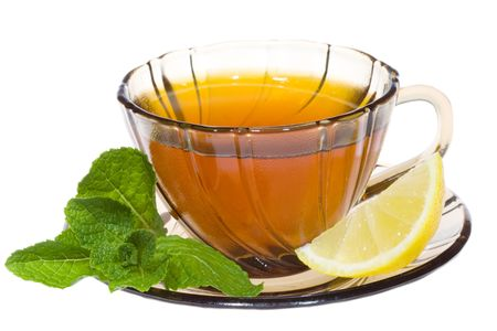 Tea with mint and lemon on white background Stock Photo - 7082556