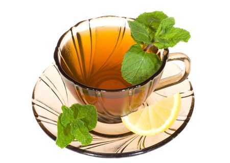Tea with mint and lemon on white background Stock Photo - 7082553