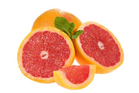 breackfast: Fresh grapefruits with mint on white background