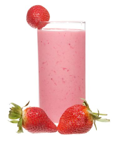 smoothie strawberry: smoothie with strawberry on white background Stock Photo