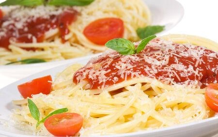 sause: Pasta with tomato sause and and basil  Stock Photo
