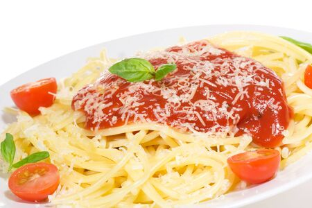 sause: Pasta with tomato sause and and basil on white background