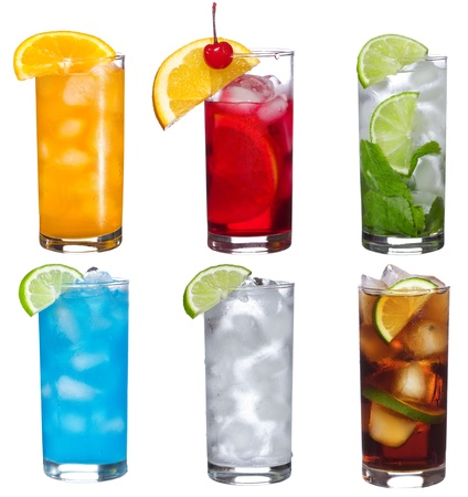 set with different cocktails  on white background Stock Photo