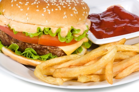 hamburger with fries photo