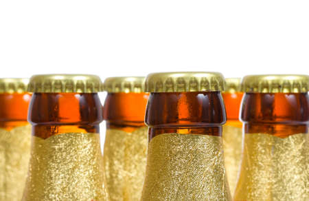 bottles of beer on white background photo