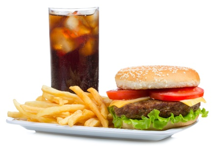 cheeseburger with fries: hamburger with fries and cola on white background Stock Photo