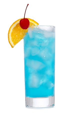 curacao: Blue Curacao cocktail with orange on white background
