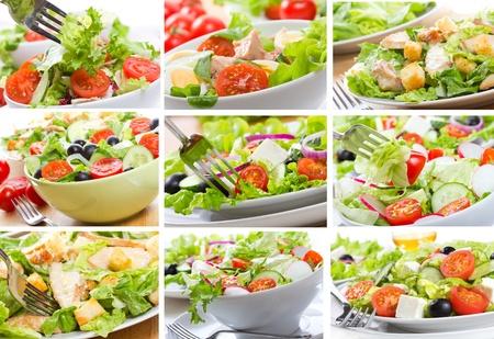 ensalada cesar: collage con ensalada Foto de archivo
