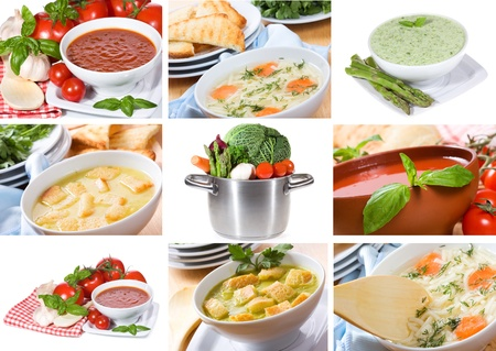 collage with soup Stock Photo