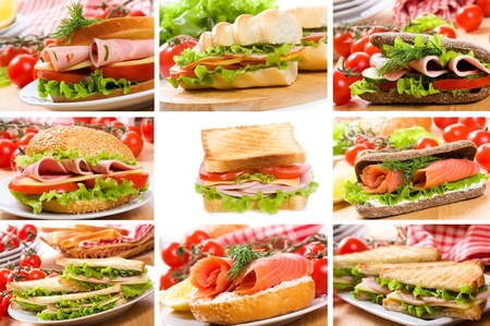 collage with sandwiches  Stock Photo