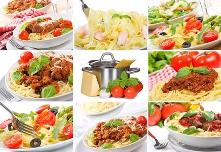 collage met verschillende pasta