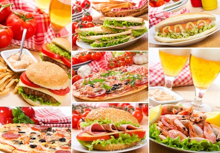 collage of different fast food products photo