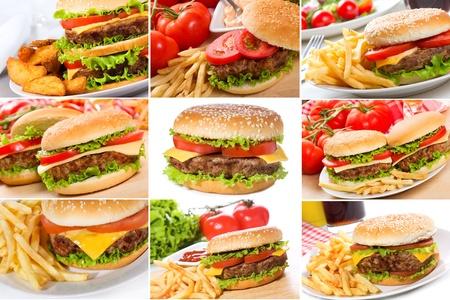 burger bun: set with hamburgers