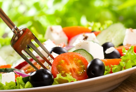 salad with vegetables and greens photo