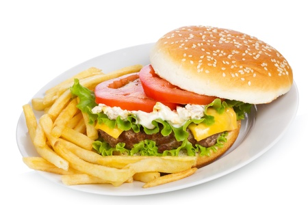 cheeseburger with fries: hamburger with fries on a white background