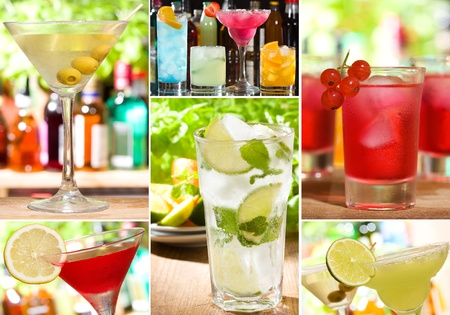 collage with different alcohol cocktails Stock Photo - 10534209