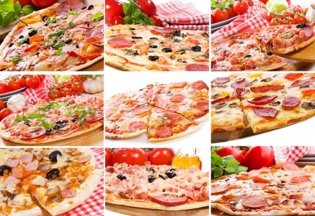 salame: collage con pizza diversa Archivio Fotografico