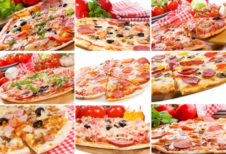 pepperoni pizza: collage with different pizza