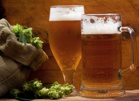 still life with beer and hops Stock Photo