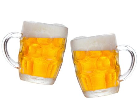 mugs of beer on white background photo