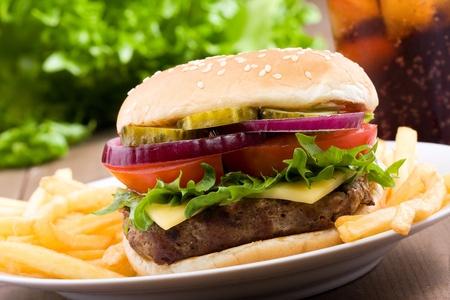 hamburguesa: hamburguesa con verduras y papas fritas