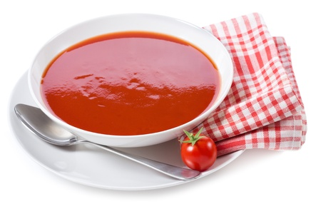 hot soup: tomato soup on white background