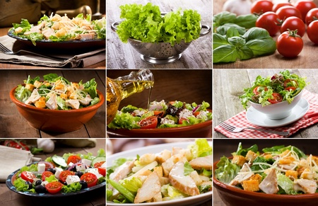 caesar salad: collage with different salad