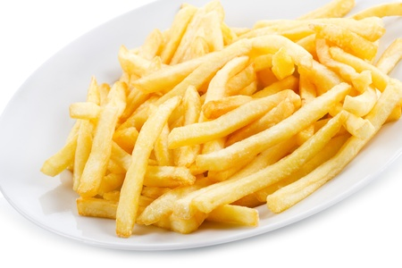 fries:  fries potatoes on white background