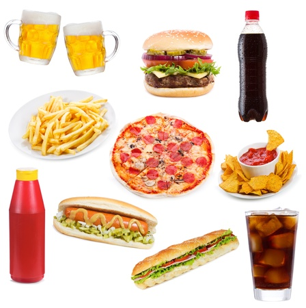 Set with fast food products on white background Stock Photo - 12449733